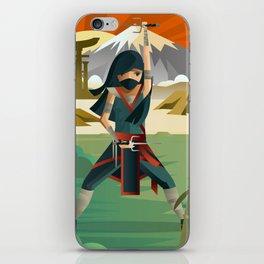 woman female ninja warrior with sai blades on japanese mountains iPhone Skin