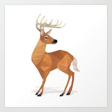 Low Poly White-tailed Deer Art Print