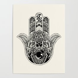 Hamsa Hand English Bulldog Poster