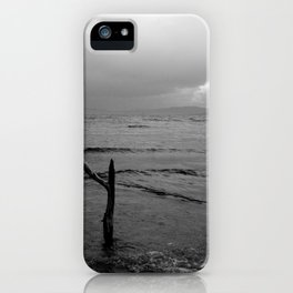 Black and white minimal lakescape iPhone Case