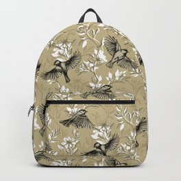 Flowers and Flight in Monochrome Golden Tan Backpack