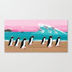 Penguins and Dolphins Canvas Print