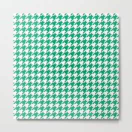 Jade Green Houndstooth Pattern Metal Print