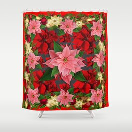 DECORATIVE  RED & PINK POINSETTIAS CHRISTMAS ART Shower Curtain