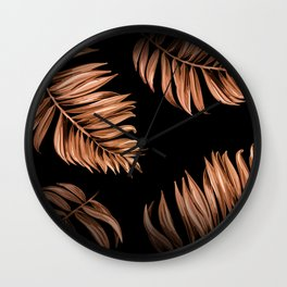 Bronze Palm Leaves Wall Clock