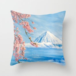 """Oil painting """"Cherry blossom"""" Throw Pillow"""