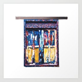 Painted old window in Bogotá, Colombia Art Print