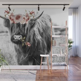 Highland Cow Landscape with Flowers Wall Mural