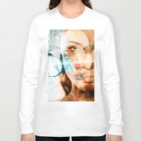 angelina jolie Long Sleeve T-shirts featuring faces of Angelina Jolie by Karma (Bhutangirl)