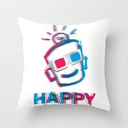 3D HAPPY Throw Pillow