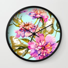Flowery nature and golden butterfly Wall Clock