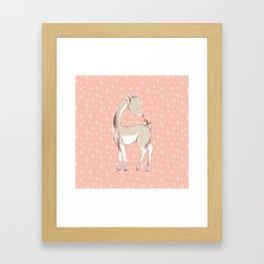 Sweet deer with robin Framed Art Print