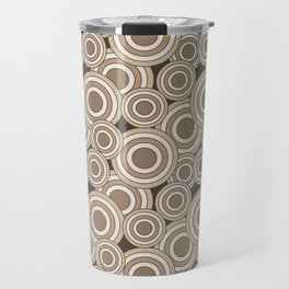 Overlapping Circles in Tans on Brown Travel Mug