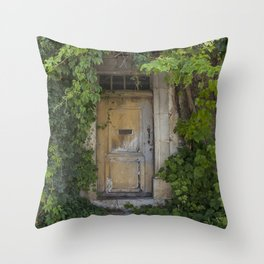 Provence Door covered with green vines Throw Pillow