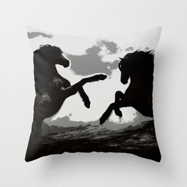 Battle of the Horses - Equine Art Throw Pillow