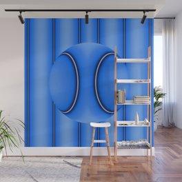 Blue Ball on Stripes Wall Mural