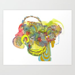 Floating Village Abstract Watercolor Painting Illustration Art Print