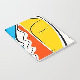 Graphic Minimal Portrait Design Orange Yellow and Blue Notebook