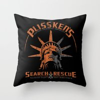 discount Throw Pillows featuring Snake Plissken's Search & Rescue Pty. Ltd. by 6amcrisis