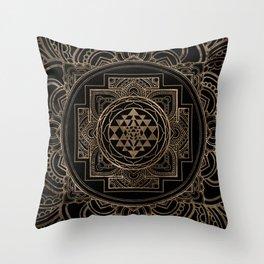 Golden Sri Yantra  / Sri Chakra in lotus Throw Pillow