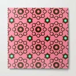 Cosmic Cheer Collection-Crop Circle Wheels-Chocolate, Mint and Cotton Candy Pink Background Metal Print