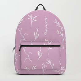 Modern spring pink lavender floral twigs hand drawn pattern Backpack