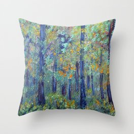 Impressionism Landscape Tree Forest, Rustic Art Home Decor Throw Pillow