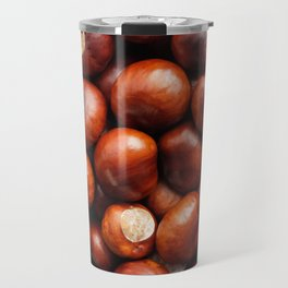Shiny red-brown conkers in fall Travel Mug