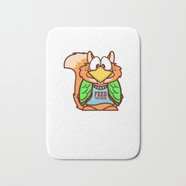 Funny Smart Hungry Squirrel design Art Illustration Gift Bath Mat