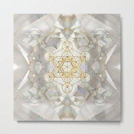 Metatron's Cube in lotus Sacred Geometry  Metal Print