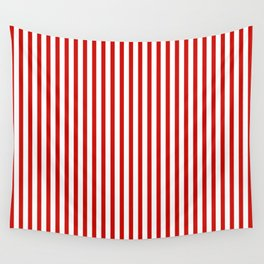 Red & White Maritime Vertical Small Stripes - Mix & Match with Simplicity of Life Wall Tapestry