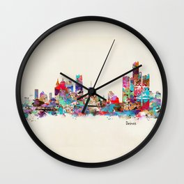 detroit michigan skyline Wall Clock