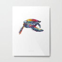 Turtle Color Geometric Metal Print