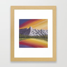 Mountain Lake at Sunset Acrylic Painting Framed Art Print