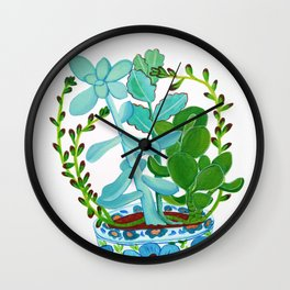 Indian Pot with Succulents Wall Clock