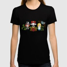 Kokeshis Alice in Wonderland Womens Fitted Tee MEDIUM Black