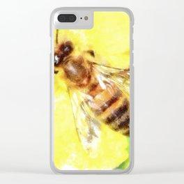 The Pollen Collector Honeybee Watercolor Clear iPhone Case
