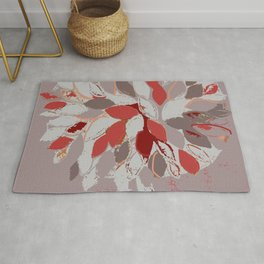 Tree, felted mixed media textile fiber art in gray and red Rug