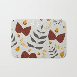 Autumn leaves and acorns - grey, brown and ochre Bath Mat