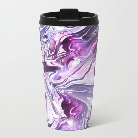 Marble Pattern Purple Pink Abstrat Metal Travel Mug