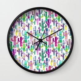 Watercolor Cacti - Pinks - Saguaros Wall Clock