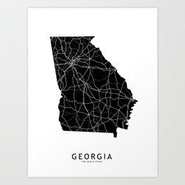 Georgia Black Map Art Print