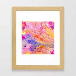 Pink and Yellow Abstract Framed Art Print