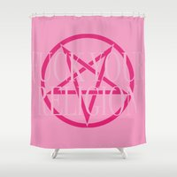 religion Shower Curtains featuring Fuck Your Religion - Pink 2 by Clare Chapman