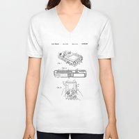 gameboy V-neck T-shirts featuring Gameboy Patent Drawing by Patent Drawing