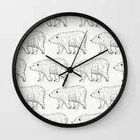 bears Wall Clocks featuring Bears by Adam Lindfors