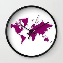 World with no Borders - sangria Wall Clock