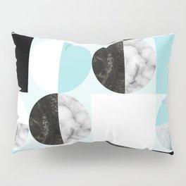 Mid Modern Moon and Sun Geometric Pattern - blue Pillow Sham