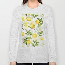 mediterranean summer lemon branches on white Long Sleeve T-shirt
