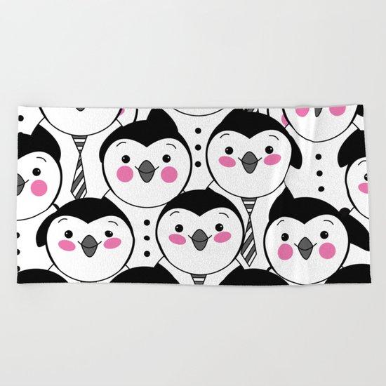 cute penguin Beach Towel